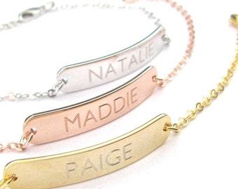 Personalized Name Bracelet, Custom Bracelet, Engraved Bracelet, Bridesmaid Gift, Gold Name Bracelet, Personalized Gift, Personalized Name
