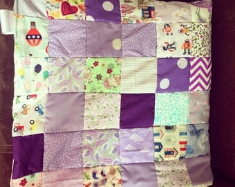 Beautiful lilac themed baby girl patchwork quilt / baby play mat/ newborn / baby shower gift