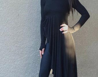 Asymmetric  Black maxi tunic/black loose tunic/extravagant tunic/party tunic/pluss size tunic/oversize maxi tunic