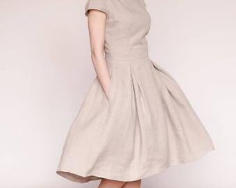 Linen dress/linen swing dress/linen wedding dress/full skirted dress/casual wedding dress/going out dress/guest wedding dress