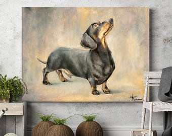 Custom pet portrait dog oil painting dachshund commission painting pet, dog, cat, horse animal wall art