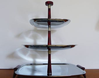 3 tiered chrome and bakelite mid-century modern serving dessert tray