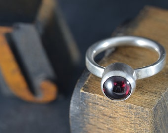 Garnet 8mm cabochon ring