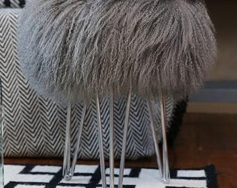 Sheepskin Stool Mongolian / Tibetan Lambswool Hairpin leg stool