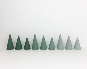 Concrete Ring Cones - Set of Three