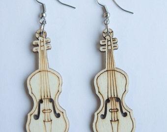 Brown Guitar Earrings