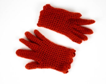 Winter Gloves | Hand Made Wool Gloves | Hand Knitted Gloves | Red Wool Gloves |