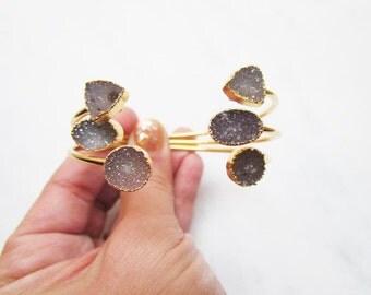 Druzy Bangle Bracelet - Adjustable Gemstone Jewelry