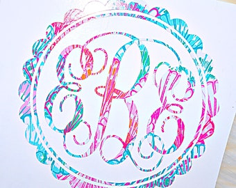 Scallop Monogram Decal