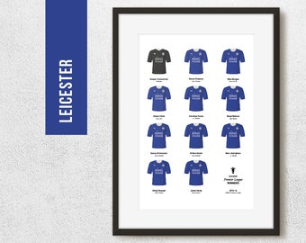 Leicester 2016 Premier League Winners Team Print, Football Poster, Football Gift, FREE UK Delivery