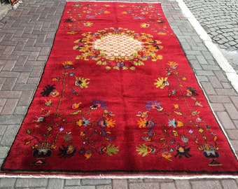 """Antique Oushak rug, Neutral Color rug,Area Rug,Muted Color Rug,Hand Knotted Rug    126"""" by 64""""      320cm by 163cm"""