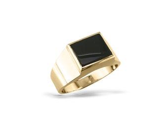 mens black onyx ring mans solid signet gold ring - Onyx Wedding Ring