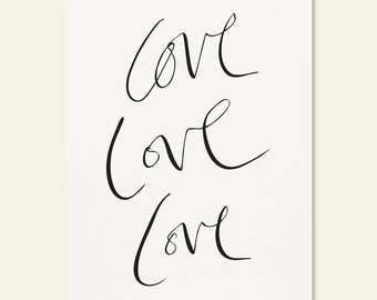 Love Love Love Calligraphy Art Wall Print