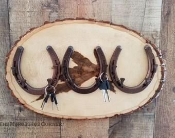 Rustic Horseshoe Jewelry Holder, Horseshoe Necklace Holder, Triple Horseshoe Key Holder, Western Decor, Country Decor