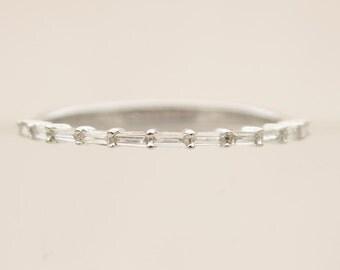 Baguette Diamond Platinum PT900 Thin Dainty Half Eternity Wedding Band Ring AD1219P