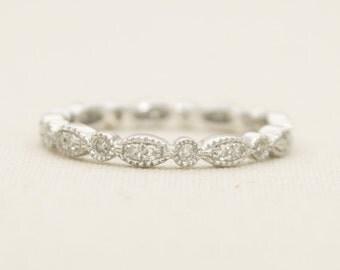 Diamond Milgrain Bead & Eye 14K Gold Full Eternity Wedding Band Stacking Ring Art Deco AD1134