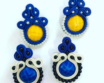 Blue soutache earrings