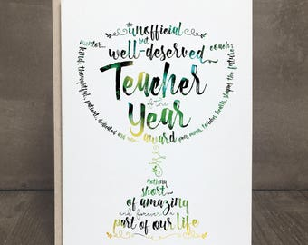 Teacher Appreciation Card,  Teacher of the Year Award