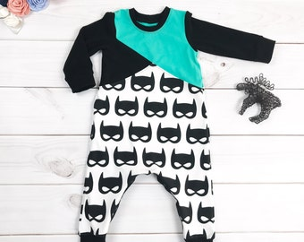 Batman romper, Color block romper, Toddler romper, Boy romper, Black romper, Baby romper,