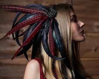 "Feather headdress, hairband ""Dragon's Gift"", tribal headpiece, goddess headdress, bohemian, festival"