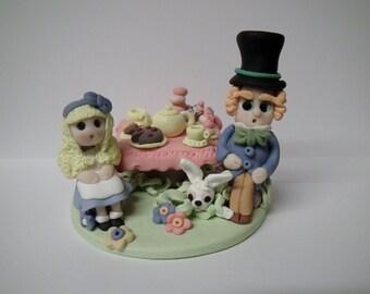 Alice in Wonderland. Ooak. Hand-made,clay, keepsake,cake topper,sculpture,gift.