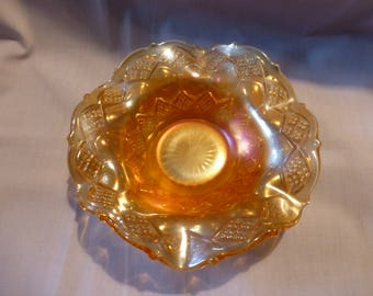 Carnival Glass Marigold Bowl Circa 1909 By Imperial Glass, Carnival Glass Marigold Three In One Pattern Bowl, Collectible Glass, Gift Ideas.
