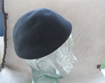 Vintage Ann Marie black  Wool Hat Black  Made in USA free shipping in the u s a