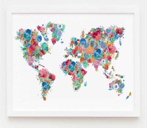 Floral nursery printable world map poster floral map print floral nursery printable world map poster floral map print girl nursery map wall art flower map shabby chic decor dorm decor baby girl gift gumiabroncs Images