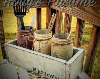 Planter Kitchen decor utensil holder farmhouse rustic kitchen decor / mason jars Utensil holder flip stir whisk