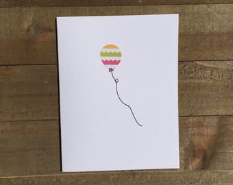 Happy Birthday Card Set / Orange,Green,Pink,Purple Striped Balloon / Birthday Greeting Card / Birthday Invitations
