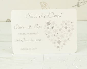 Personalised Snowflake Heart Wedding Save the Date Card