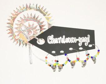 Chardonn-yay wine charm set of 5