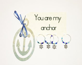 You're my Anchor wine charm set of 4