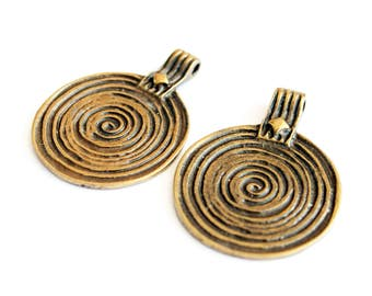 2Pc Antique Gold Plated Large Pendant Metal Beads Antique Pendant Boho pendant Ethnic Pendant Tribal Pendant Making jewelry Metal Connectors