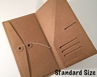 Kraft File Folder with Envelope Insert for Traveler's Notebook Standard Size Credit Card Holder Midori Accessories