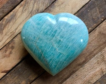 Dreamy Large Amazonite Heart, Amazonite, Heart Shaped, Love, Valentine's Day Gift, Gifts for Her, Communication Stone, Mystical Serenity