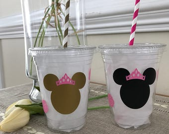 Minnie Mouse Party Cup, Pink and Gold Minnie, Winter Onederland, Birthday, baby Shower, 16 0z. Clear Plastic Disposable Cups with top & stra