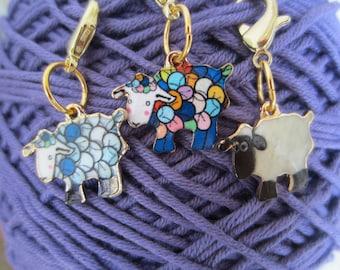 Sheep Progress Keeper / Knitting / Crochet/ Charm / Metal Zipper Pull