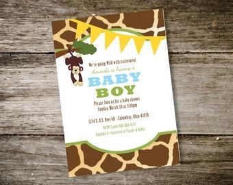 Zoo Themed Baby Shower Invitation