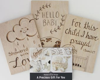 Gift Certificate for Personalized Baby Wooden Toy + One Wood Baby Card, Unique Baby Shower Gift, Baby Gifts for Girls, Baby Gifts for Boys