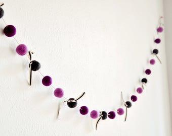 Felted Wool Ball Garland*Kids Playroom*Kids Bedroom*Baby Nursery*pink,charcoal gray,fuschia