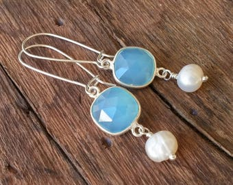 Chalcedony Earrings, Sterling Silver Earrings, Light Blue Earrings Wedding Earrings, Pearl Earrings Dangle, Wedding Jewelry, Bridal Earrings
