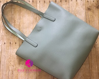 Sage Faux Pebbled Leather Tote W/Lt. Aqua Interior