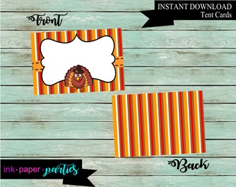 Printable Thanksgiving Food Place Table Tent Cards ~DIY~ Digital File Instant Download