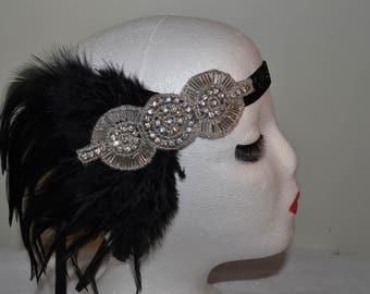 Black & Silver 1920's Feather Vintage Style Headband Flapper, Great Gatsby Charleston Weddings, Proms, Parties, 1920s Themed Occasions,