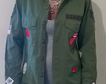 Vintage Military Shirt with Custom Patches