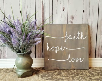 """FAITH, HOPE, LOVE Wooden Sign 11.25"""" Square"""
