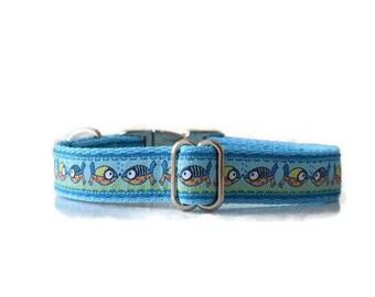 Beach dog collar, summer dog collae, spring dog collar, Fishes dog collar, blue dog collar, cute dog collar, boy dog collar, girl dog collar