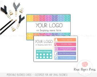 Business Cards, Herringbone | Custom Printable Business Card | Punch Card or Spotted Card