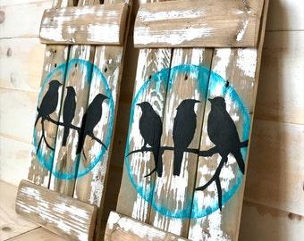 SALE,BIRDS ON a Limb,Rustic Birds on a Branch Painting,Original Bird Art,Rustic Bird Painting,Bird Wall Art,Bird Wall Decor,Rustic Bird Art
